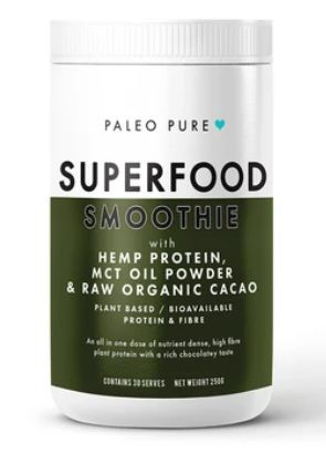 KETO SUPERFOOD SMOOTHIE HEMP SEED PROTEIN & CACAO & MCT 250GM BY PALEO PURE